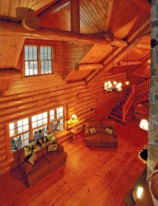 pine floor in log home